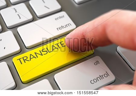 Business Concept - Male Finger Pointing Yellow Translate Keypad on Modern Laptop Keyboard. 3D Render.