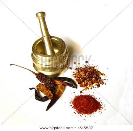 Chilies With Brass Mortar 1