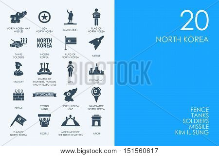 Library North Korea vector set of modern simple icons