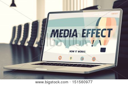 Media Effect - Landing Page with Inscription on Mobile Computer Display on Background of Comfortable Meeting Hall in Modern Office. Closeup View. Blurred Image. Selective focus. 3D Rendering.