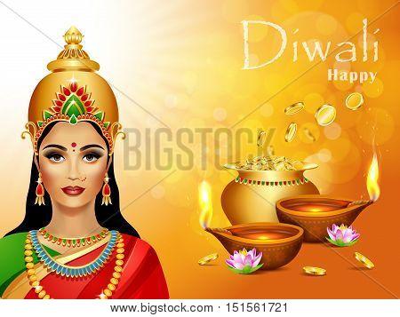 Diwali Holiday greeting card. Deepawali background with two burning diya, pot of gold and Lakshmi hindu goddess. Diwali festival.