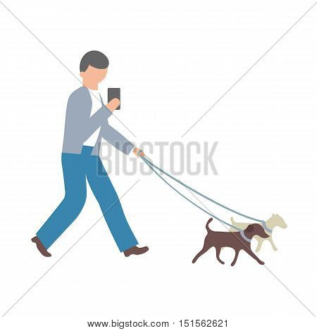 Vector illustration of a man walking with dogs