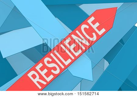 Resilience arrow pointing upward 3d rendering in white