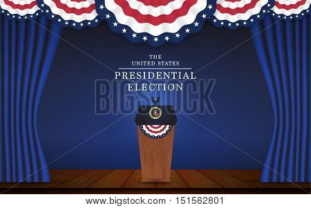 Presidential election banner background. President podium with microphone on stage design for US Presidential election of 2016. Vector illustration.