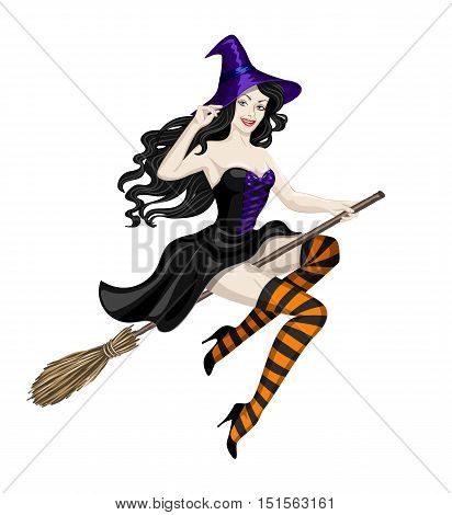 Beautiful witch flying on broomstick. Illustration of sexy woman in Halloween costume isolated on white. Halloween character