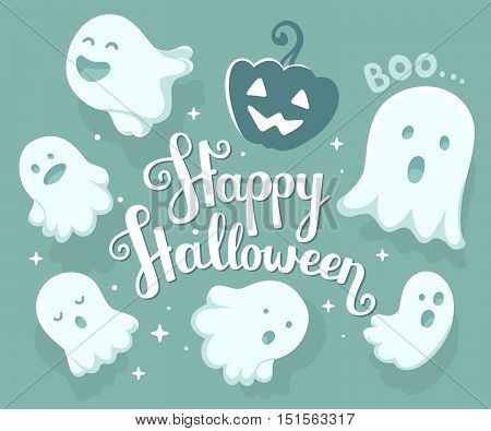 Vector Halloween Illustration Of Many White Flying Ghosts With Eyes, Mouths On Light Blue Background