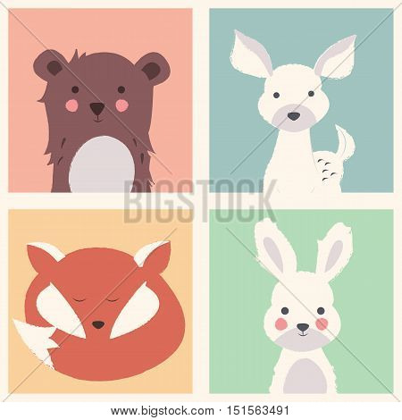 Collection of cute forest and polar animals with baby cubs including bear fox fawn and rabbit vector illustration