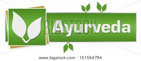 Ayurveda concept image with text and leaves on green background.