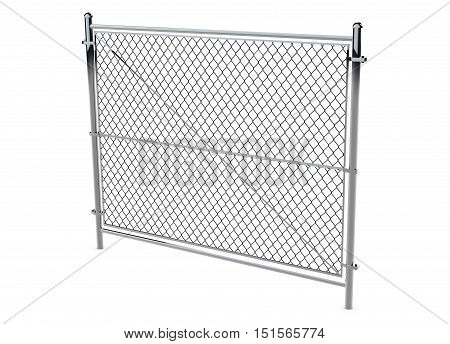 Metal Wire Fence - Isolated A wire fence isolated on white. 3d Render