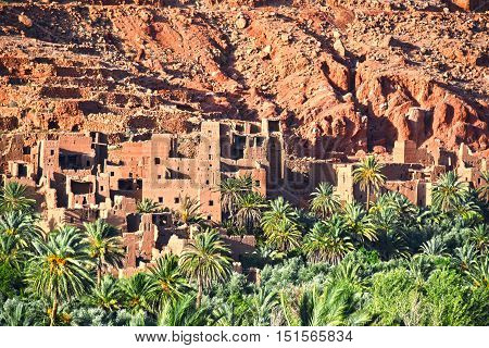 Old Berber Architecture Near The City Of Tinghir In Atlas Mount.
