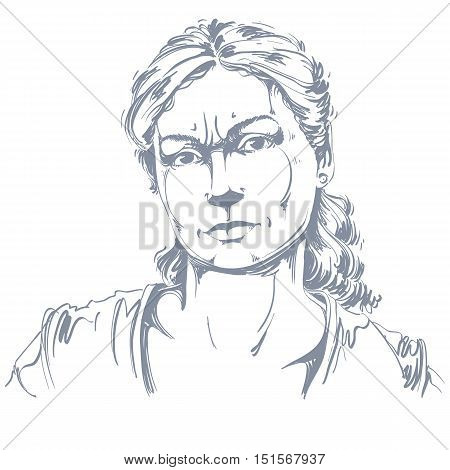 Hand-drawn portrait of white-skin doubtful woman face emotions theme illustration. Skeptic or angry lady with wrinkles on her forehead posing on white background.