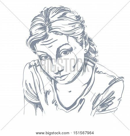 Portrait of delicate naive or blameworthy woman black and white vector drawing. Emotional expressions idea