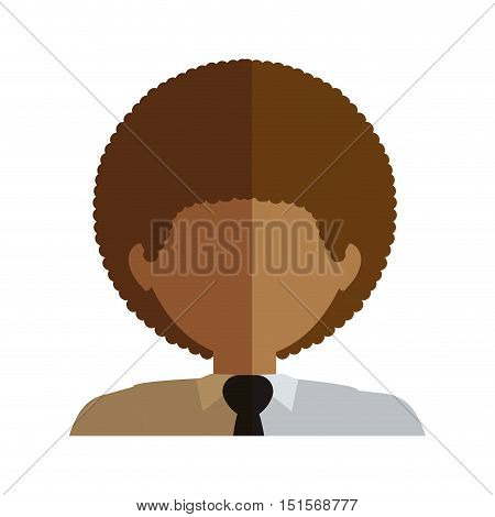 half body man half brunette and caucasian curly hair and tie vector illustration