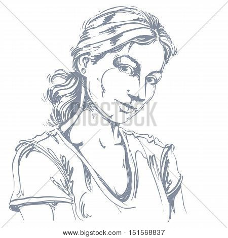 Hand-drawn vector illustration of beautiful romantic and tender woman. Monochrome image expressions on face of young lady looking at somebody with love and caring.