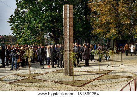Uzhgorod Ukraine - 2016 October 9: Participants in the opening ceremony of the monument to local victims of the Holocaust gather on the square near the former synagogue.