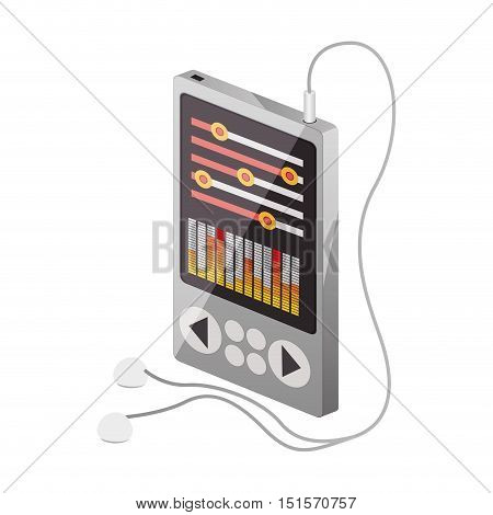 tech portable music device with headphones vector illustration