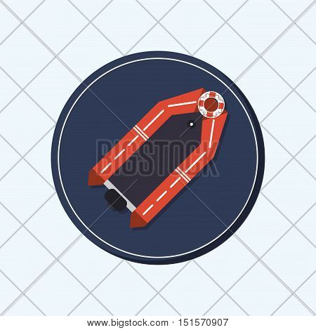lifeboat or ship with nautical sea life related icons image vector illustration design