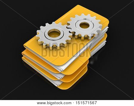 3D Illustration. Folders and files with Cogwheels. Image with clipping path