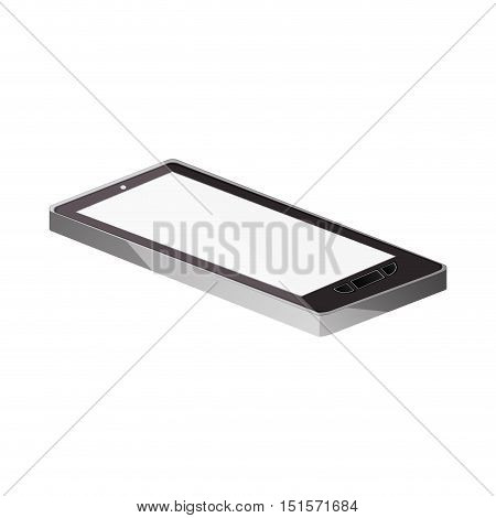 tech touch tablet camera with buttons lying down vector illustration