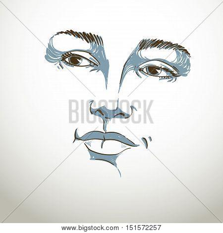 Hand-drawn portrait of white-skin flirting woman face emotions theme illustration.