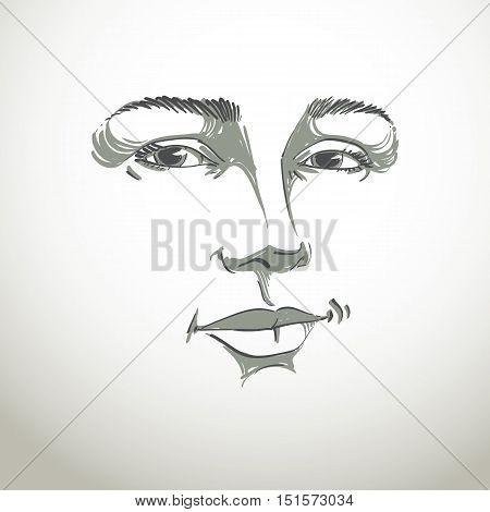 Monochrome art vector portrait of flirting woman face expressions theme illustration.