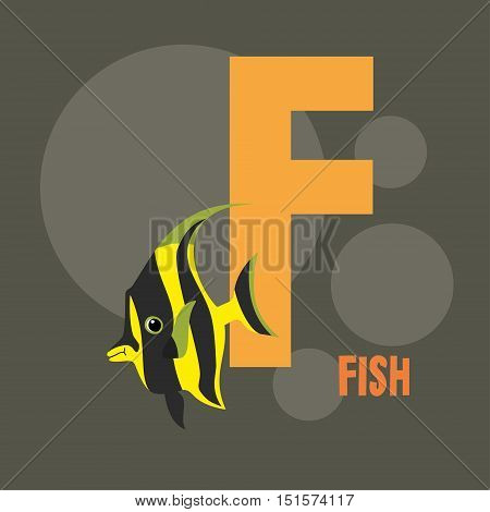 yellow fish on the background of the letter F. gray background. vector illustration