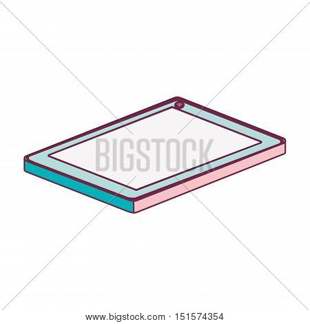 tech touch tablet camera front lying down minimalist vector illustration