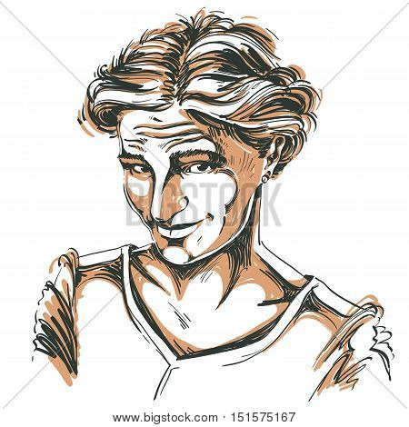 Vector portrait of attractive blameworthy woman illustration of good-looking naive girl. Person emotional face expression.