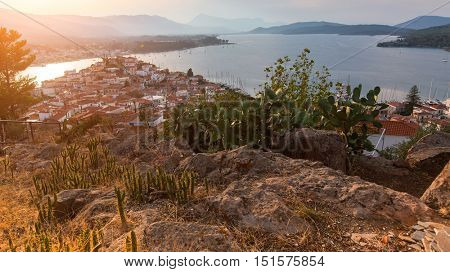Top view of the landscape during sunset of Poros island, Greece.