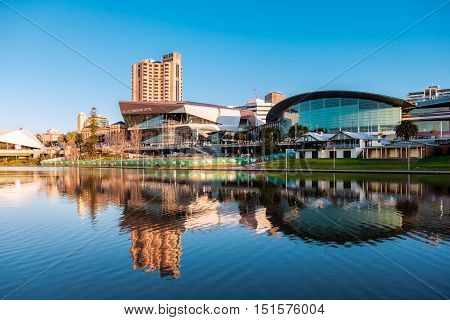 Adelaide Australia - September 11 2016: Adelaide city centre viewed from the north side of Torrens river in Elder Park on a bright day