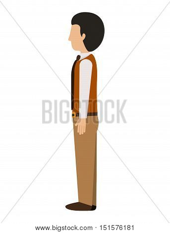 man standing left profile blazer with tie vector illustration