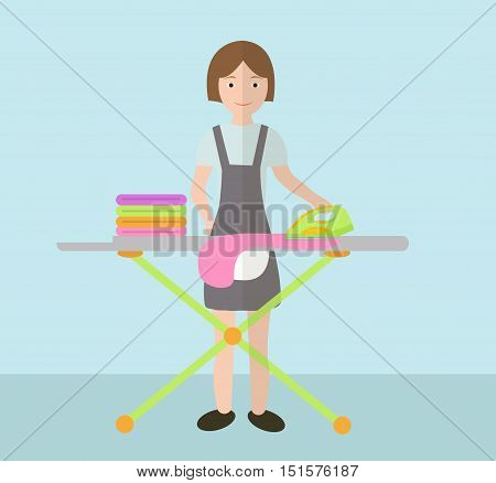 A woman irons clothes. Ironing board and iron. Vector illustration