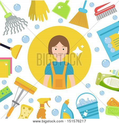 Set of icons for cleaning tools. House cleaning staff. Flat design style. Cleaning design elements. Vector illustration