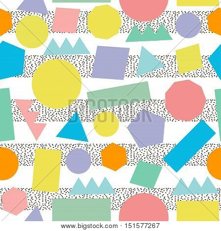 Ceometric seamless pattern. Colorful retro background.Abstract. 80's - 90's years design style.Trendy