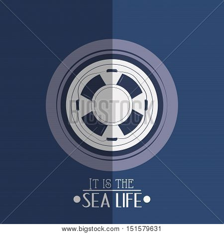 life preserver with nautical sea life related icons image vector illustration design