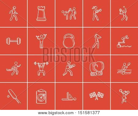 Sport sketch icon set for web, mobile and infographics. Hand drawn sport icon set. Sport vector icon set. Sport icon set isolated on red background.