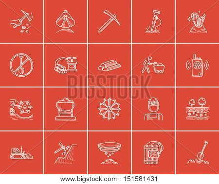 Mining industry sketch icon set for web, mobile and infographics. Hand drawn mining industry icon set. Mining industry vector icon set. Mining industry icon set isolated on red background.