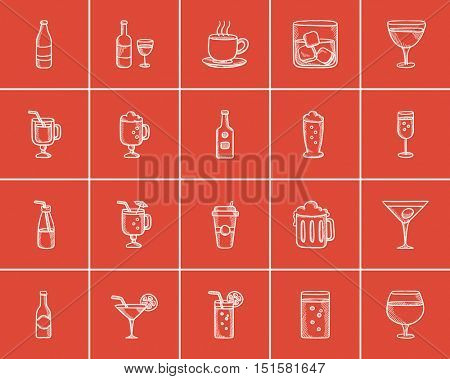 Drinks sketch icon set for web, mobile and infographics. Hand drawn drinks icon set. Drinks vector icon set. Drinks icon set isolated on red background.