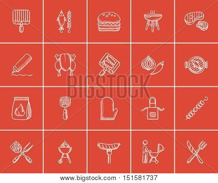 Barbecue sketch icon set for web, mobile and infographics. Hand drawn barbecue icon set. Barbecue vector icon set. Barbecue icon set isolated on red background.