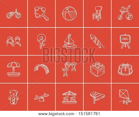 Kids sketch icon set for web, mobile and infographics. Hand drawn kids icon set. Kids vector icon set. Kids icon set isolated on red background.