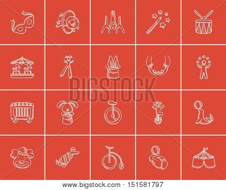 Circus sketch icon set for web, mobile and infographics. Hand drawn circus icon set. Circus vector icon set. Circus icon set isolated on red background.