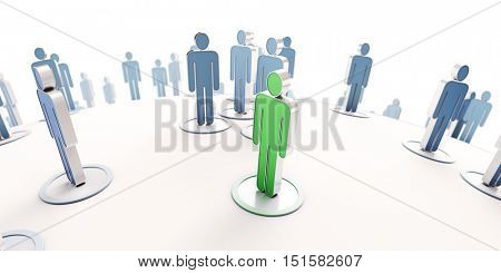 3D rendering of a green human icon with blue people pictograms