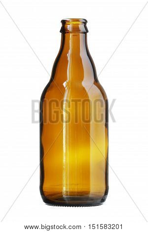 Short Brown Beer Bottle isolated on white background