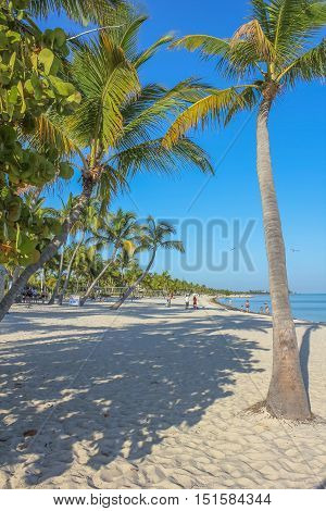 The popular beach with fine white sand of Smathers Beach, Key West, Florida. Smathers Beach is Key West's longest beach and is located on the Atlantic Ocean side. Popular tourist destination.