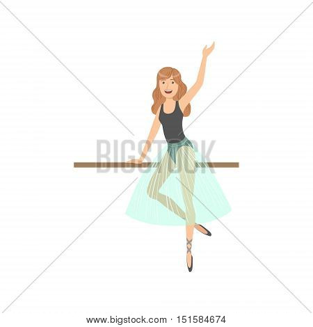 Girl With Loose Hair In Ballet Dance Class Exercising With The Pole. Flat Simplified Childish Style Classic Dance Position Illustration Isolated On White Background.