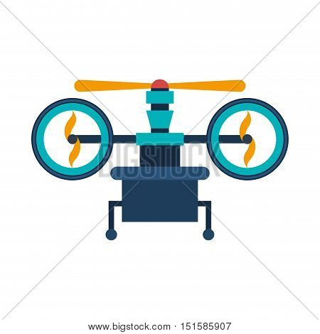 drone with support and three airscrew vector illustration