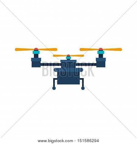 drone with three airscrew and train of landing vector illustration