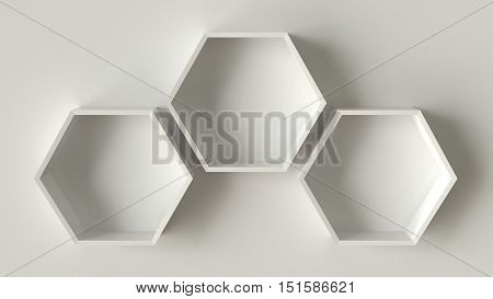 Empty white hexagons shelves on concrete wall background, 3D rendering