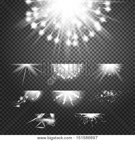 Glint glory effect. Simple vector white and bright suns on transparent background. Stars and meteors