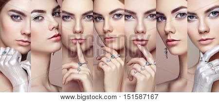 Beauty collage. Faces of women. Fashion portrait of young beautiful woman with jewelry. Blonde girl. Perfect make-up. Beauty style woman with diamond accessories